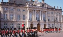 The Amalienborg Palace in Copenhagen is the home for the Danish Royal family